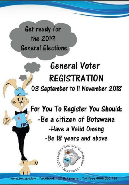 REMINDER FOR VOTER REGISTRATION FOR THE 2019 GENERAL